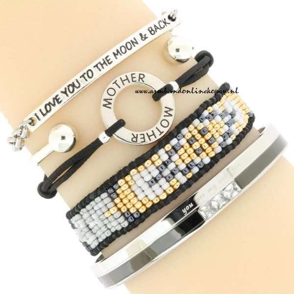 Moeder Armbandjes Zilver Zwart goedkoop kopen