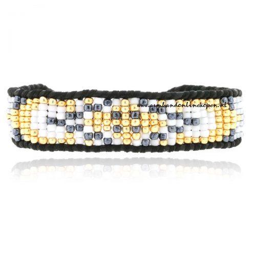 Tribal Glimmering Gold Mix Single Wrap Bracelet