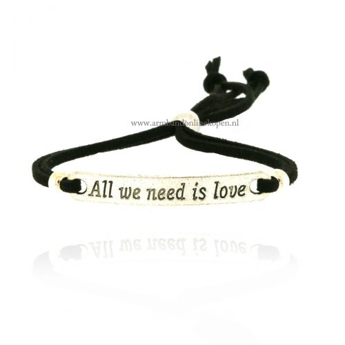 all we need is love armbandje zwart zilver