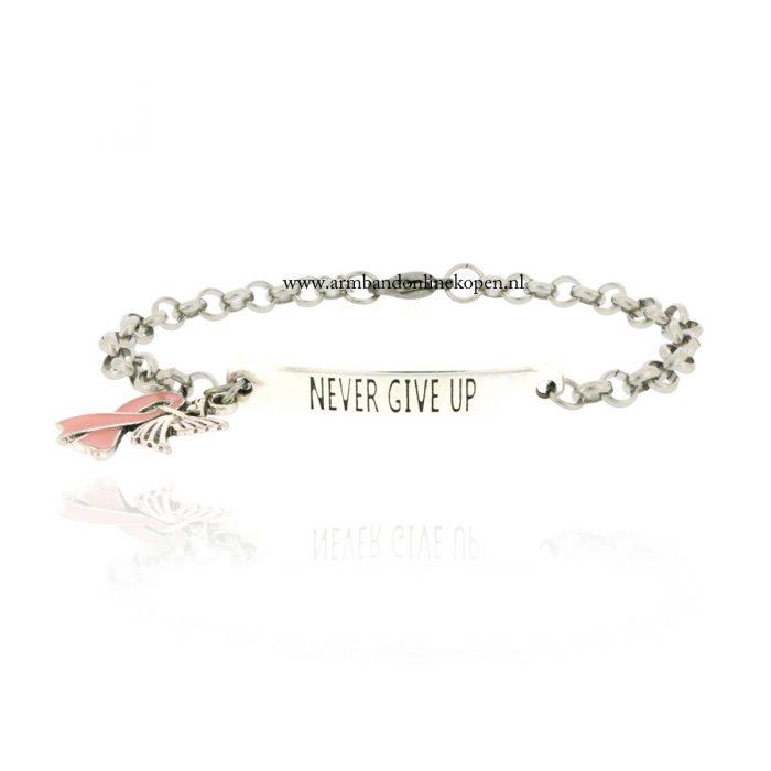armband pink ribbon beschermengel zilver