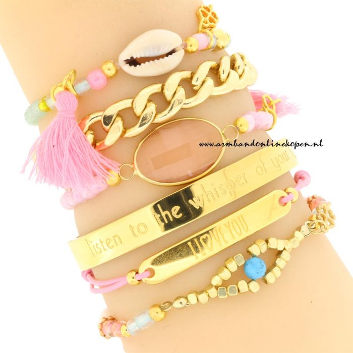 armcandy armbandjes soft pink stone