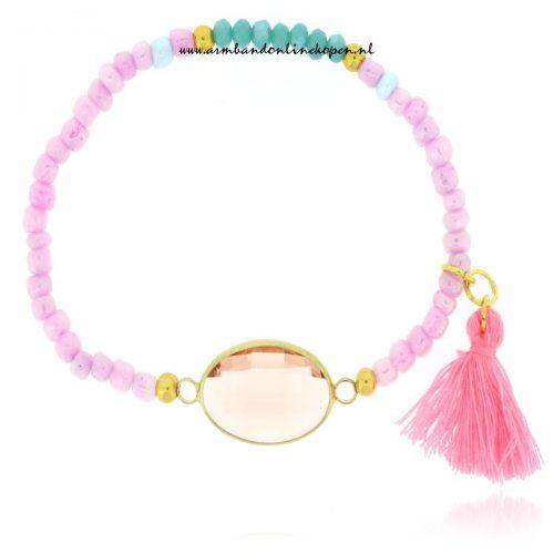 hippe armbandjes Soft Pink Stone Bracelet
