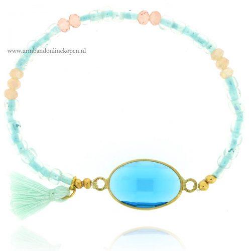 hippe armbandjes glaskralen aquamarijn facetsteen