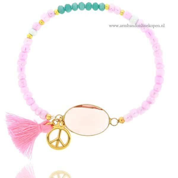 roze facetsteen armbandje