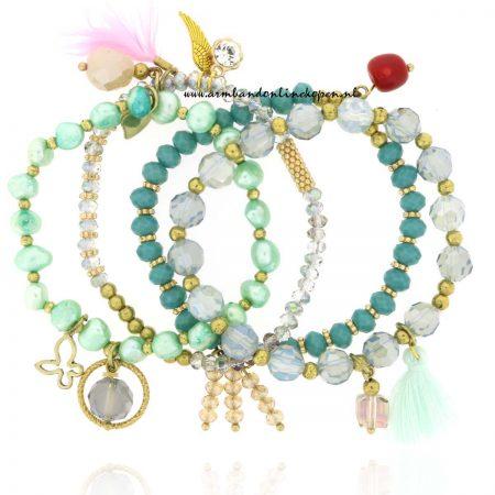 Armbandjes Set Genuine Mint Pearl