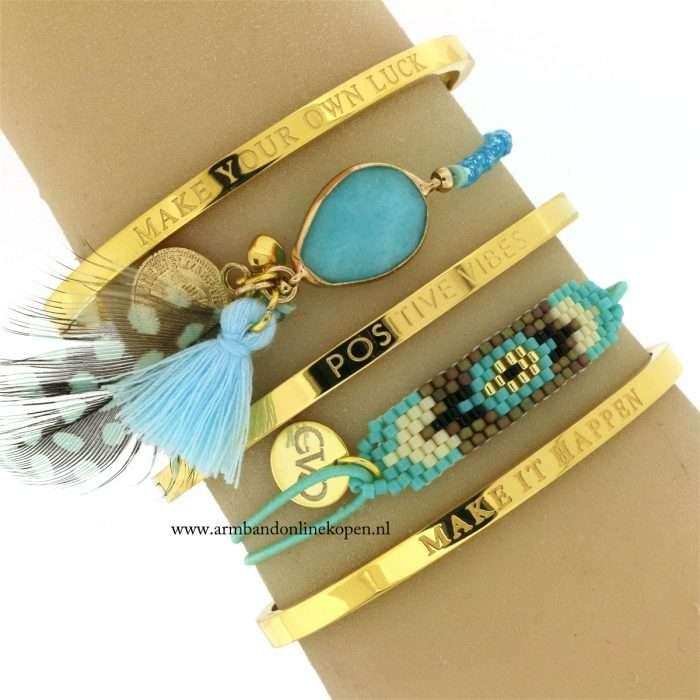 Teal Gemstone Aqua Beads Bracelet