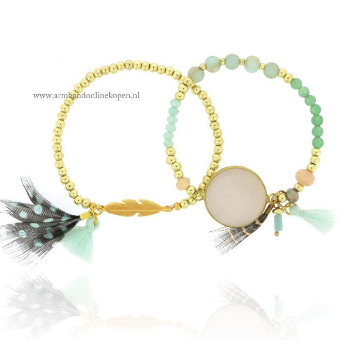 kralen armbandjes set met veertjes en steen