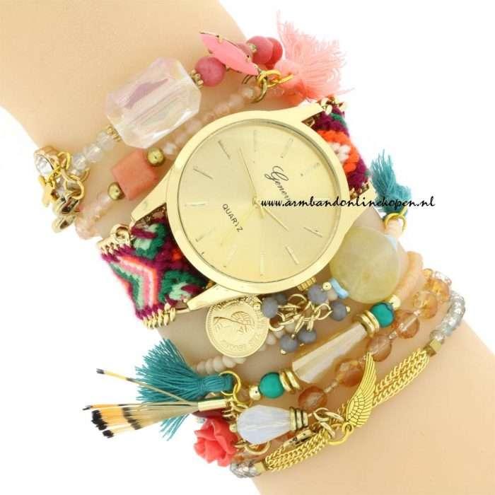 armbandjes set boho ibiza horloge armcandy