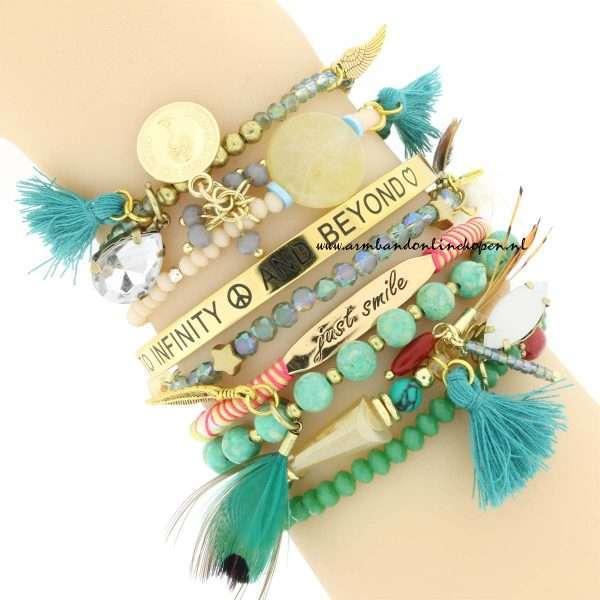 armbandjes set emerald tinten