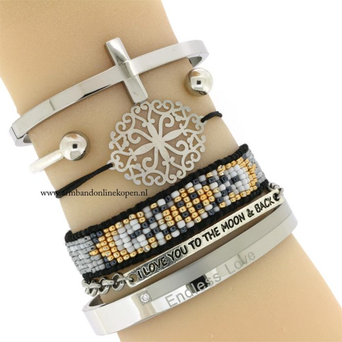 quote armband zilver Endless Love kruis bangle