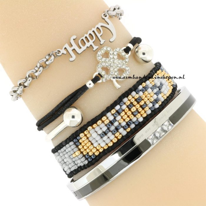 Stainless Steel Chain Armband Happy