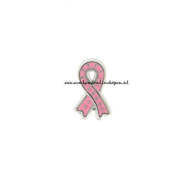 pink ribbon bedel zilver roze