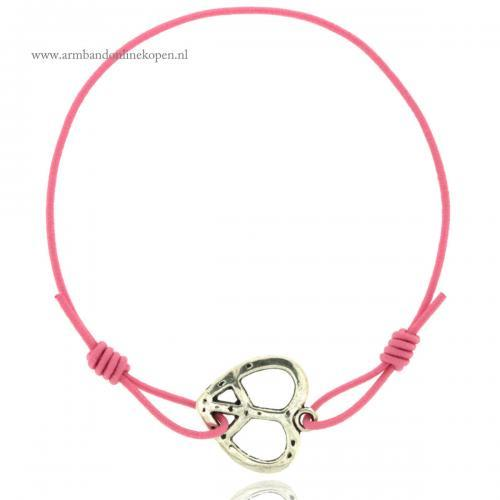 armband elastiek peace teken en hart