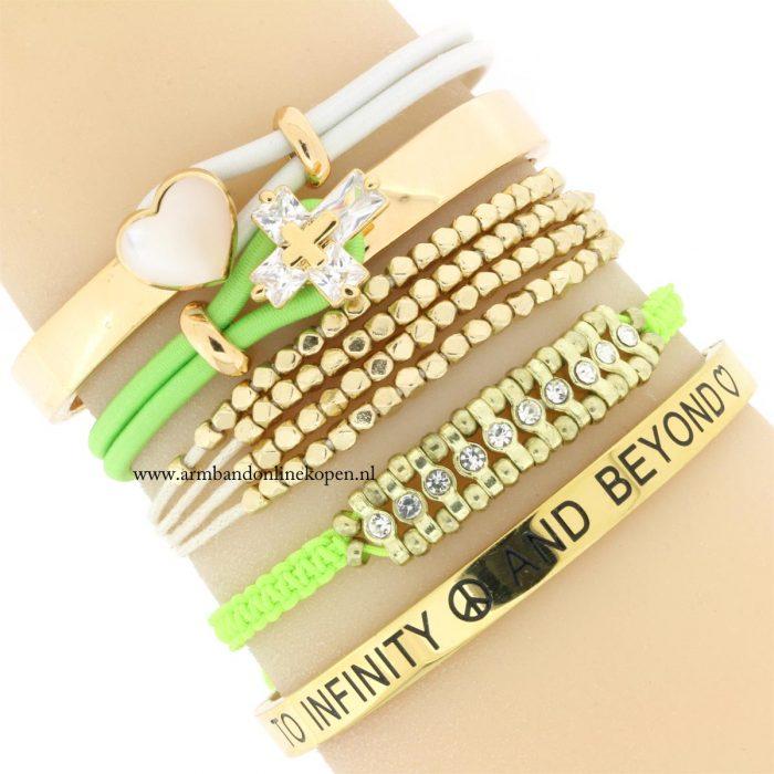 armband kraaltjes goud neon