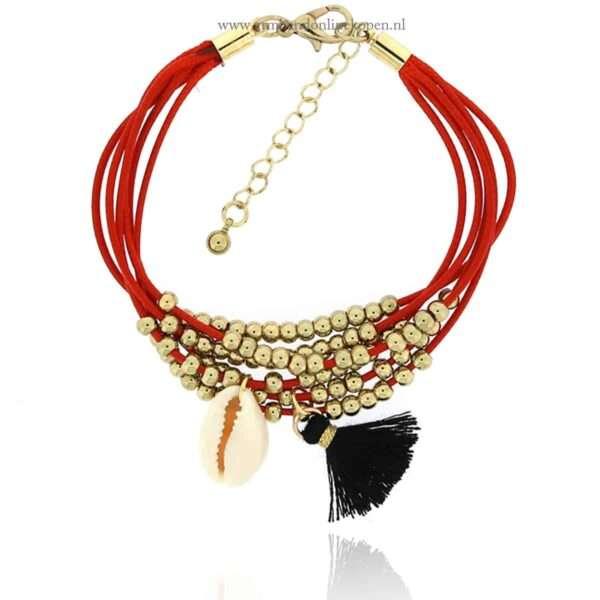 boho armband met schelp en goudkleurige kraaltjes