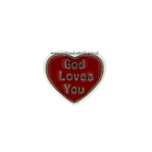 God loves you bedel voor munt hanger of armband