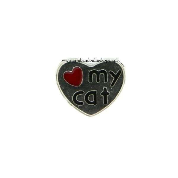 I love my cat bedel voor munt hanger of armband