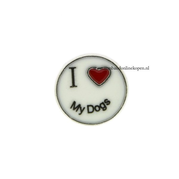 I love my dogs bedel voor munt hanger of armband