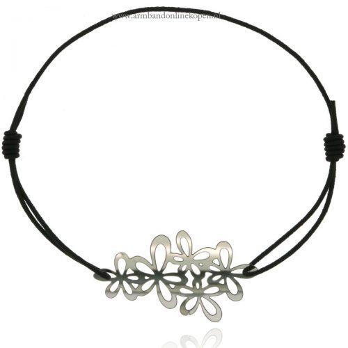 armband elastiek bloem zilver zwart