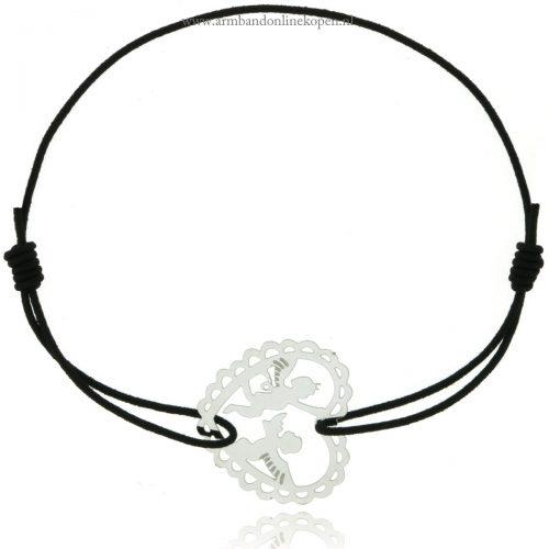 armband elastiek engeltje zilver zwart