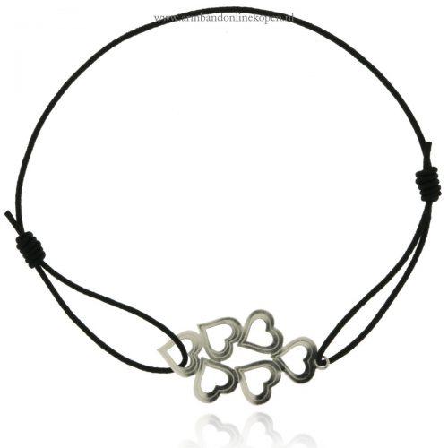 armband elastiek hartjes zwart zilver