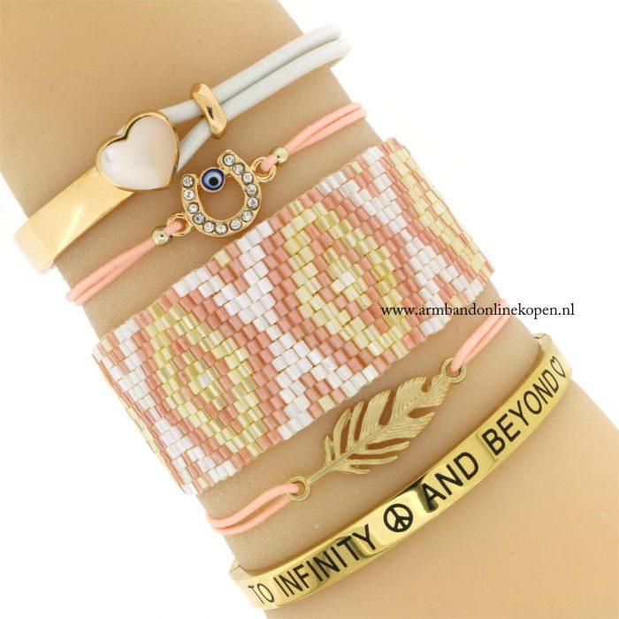 armband veer goud perzik elastiek