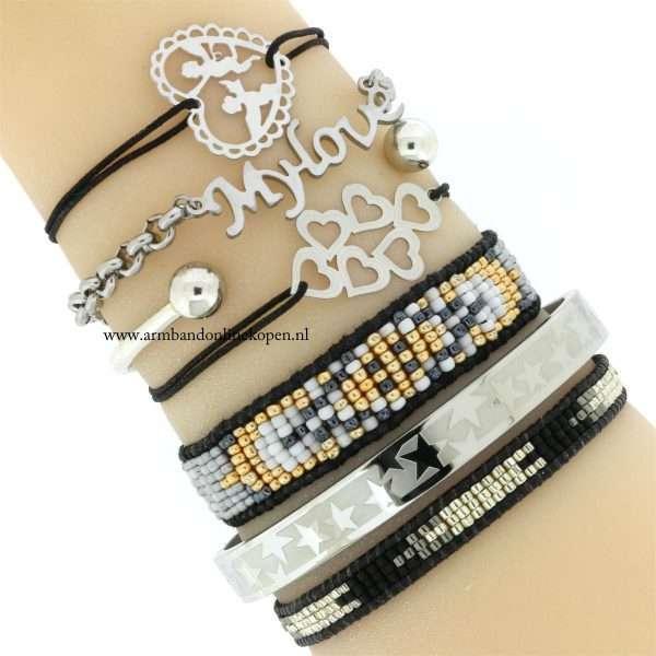armbandjes elastiek staal zilver zwart