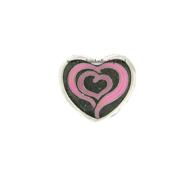 bedel munt hanger of armband 2 hearts 1 soul roze