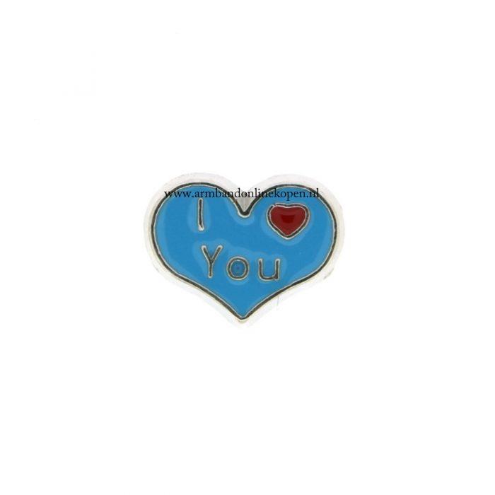 bedel munt hanger of armband I love you blauw