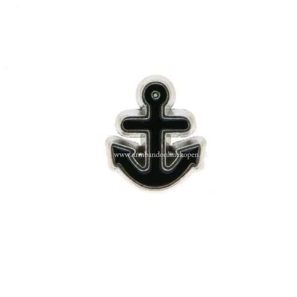 bedel munt hanger of armband anker zilver zwart