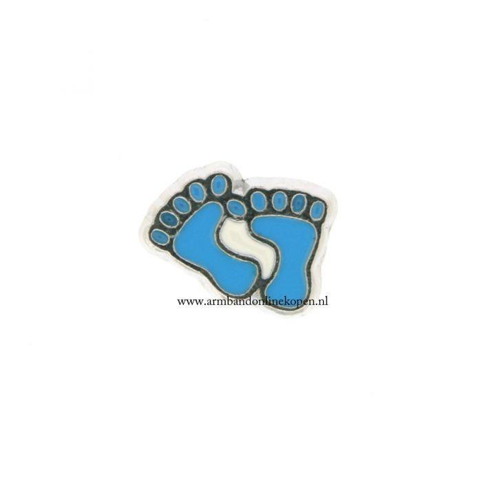 bedel munt hanger of armband jongen voetjes