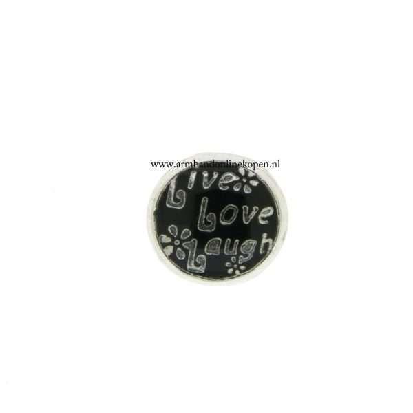 bedel munt hanger of armband live love laugh zwart