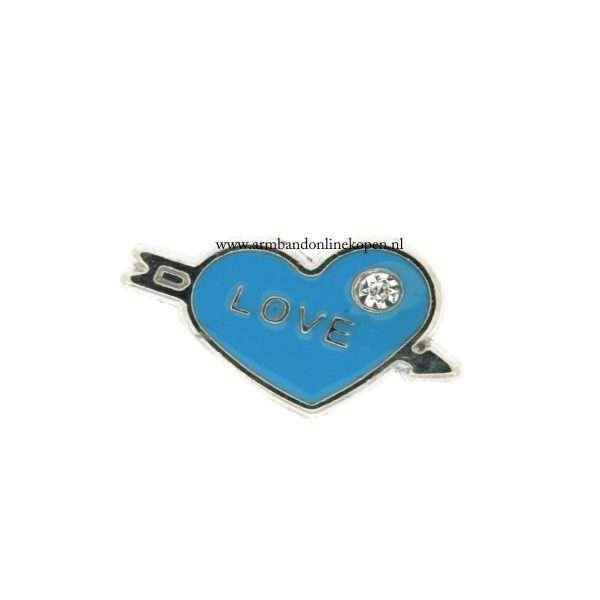 bedel munt hanger of armband love hart blauw