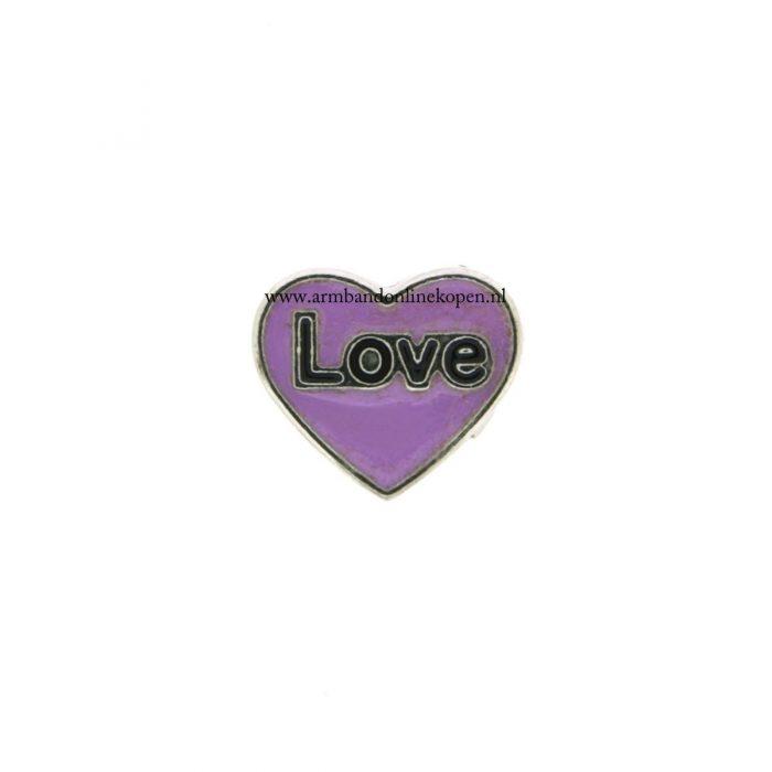 bedel munt hanger of armband love paars