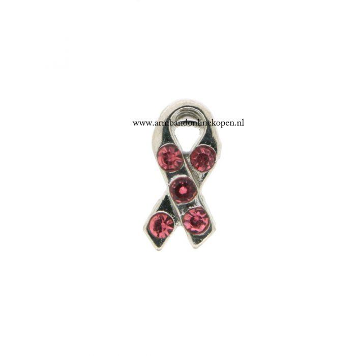 bedel munt hanger of armband pink ribbon