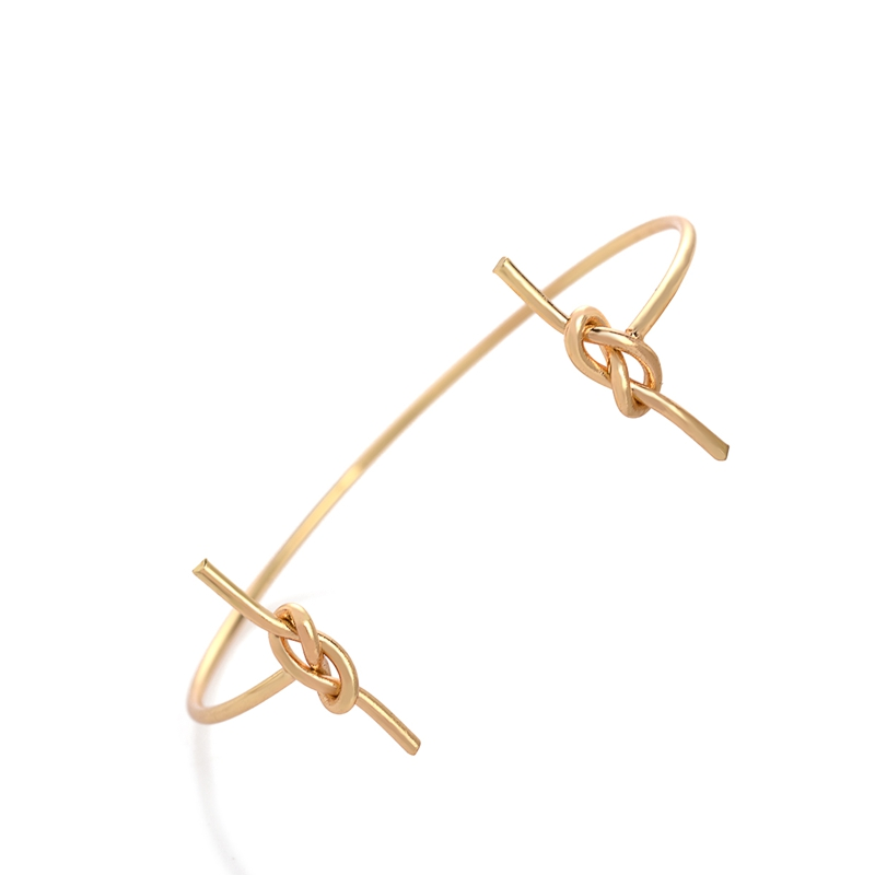 hippe armband knoop bangle goud