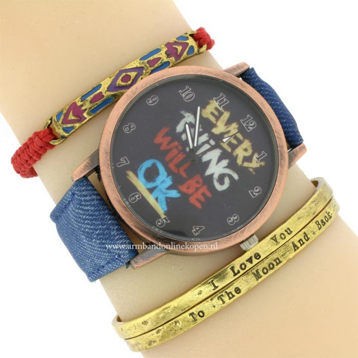 horloge bangle quote aztec armbandjes