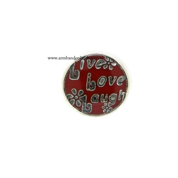 live love laugh bedel voor munt hanger of armband rood