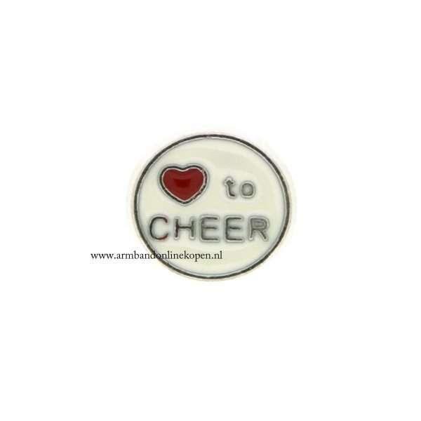 love to cheer my love with you bedel voor munt hanger of armband