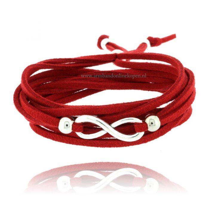wikkel armband infinity rood zilver