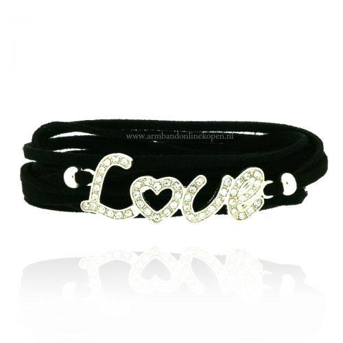 Wikkel Armband Love Zwart strass steentjes