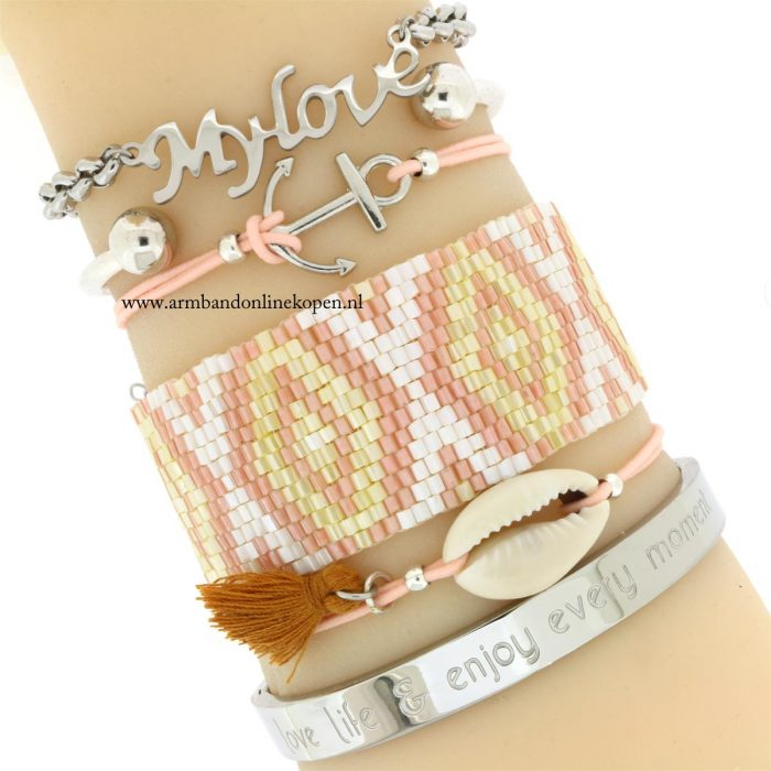 ankertje armband perziek zilver