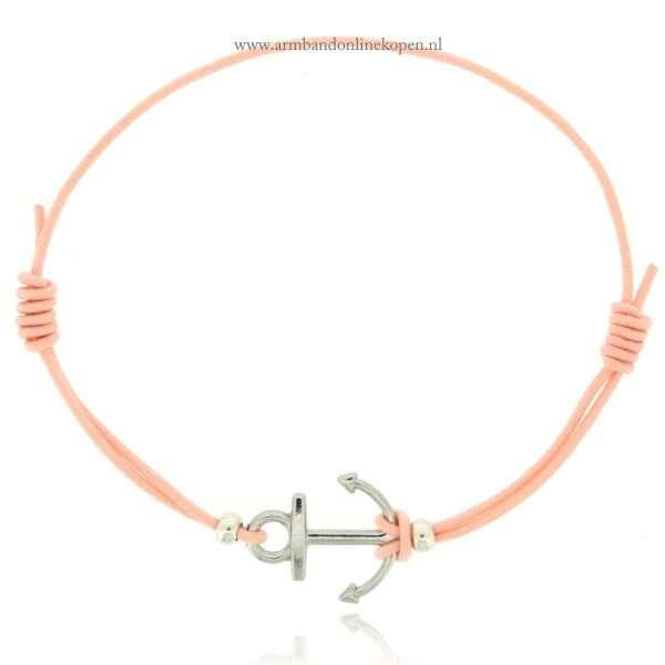 armband elastiek zilver perzik