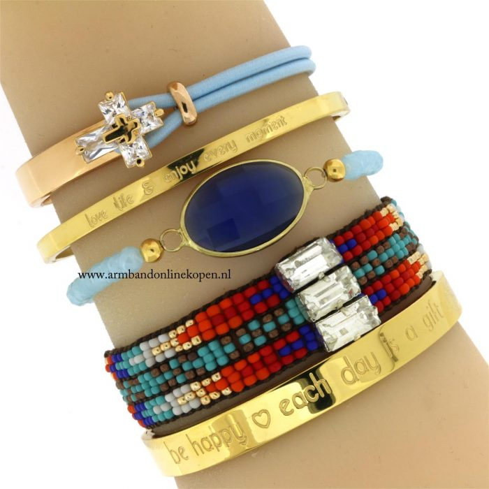 armband facet kraaltjes blauwe steen