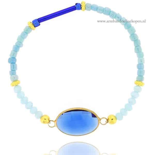 armband hemelsblauwe facet kraaltjes royal blauw steen