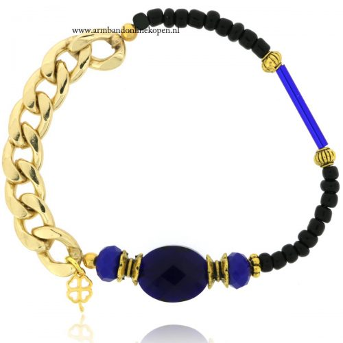 armband indigo steen schakels goud