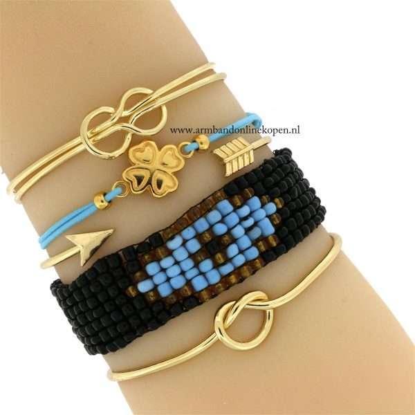 armband klaver goud hemelsblauw
