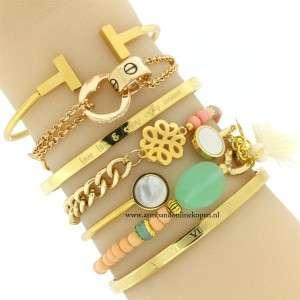 armband mint steen goud schakels hippe armcandy