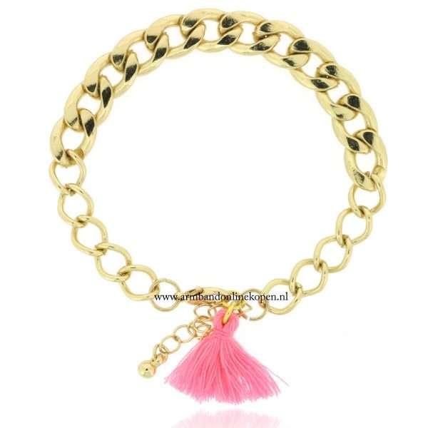 armband mix en match roze kwastje