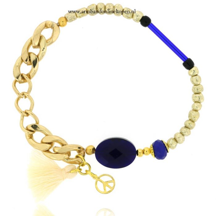 armband steen schakels goud kraaltjes